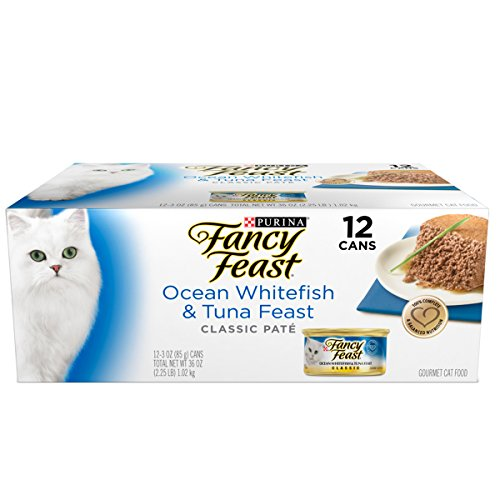 Purina Fancy Feast Classic Ocean Whitefish & Tuna Feast Collection Cat Food – (12) 36 Oz. Box For Sale