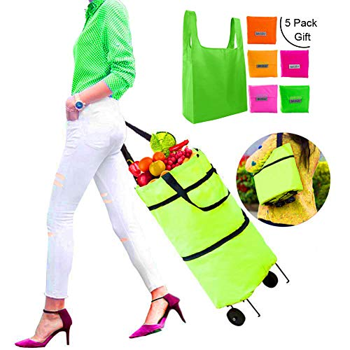 Shopping cart with wheels|JIUBO|Grocery cart with wheels|Foldable Shopping Cart |Folding Shopping Bag |Grocery Bags| Dual-Use Tote Bag|Green|5 Pack Reusable Shopping Bag presented as a Gift