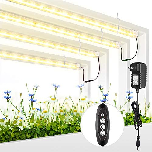 Roleadro Grow Light for Indoor Plants, 3500K Full Spectrum Grow Lamp with Timer Extension Cables Plant Lights Bar 4 Dimmable Levels for Indoor Plants Tent Seedling Hydroponics – 4Pack