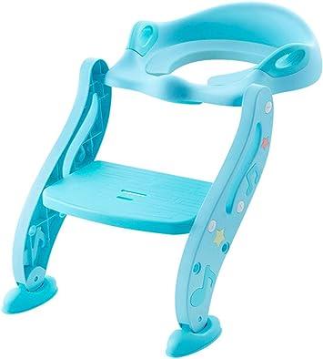 KUANDARYJ Agarraderas Grandes Aseo Escalera Asiento Escalera de Niños, Adaptador WC para Niños con Escalera Antideslizante, Asiento de Entrenamiento de Inodoro Ajustable y Plegable, Blue: Amazon.es: Deportes y aire libre