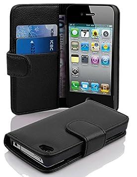 Cadorabo Hülle für Apple iPhone 4/ iPhone 4S Hülle in Handyhülle mit Kartenfach aus Struktriertem Kunstleder Case Cover Schut