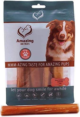 Amazing Dog Treats 6 Inch Bully Sticks – Premium Quality Dog Chews – 100 Beef – Long Lasting Dog Treats – Promotes Canine Dental Health
