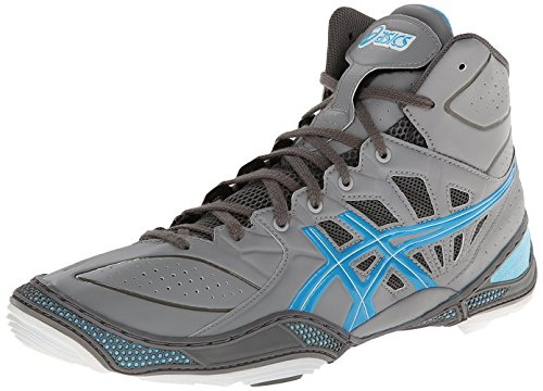 ASICS Men's Dan Gable Ultimate 3 Wrestling Shoe,Silver/Malibu/White,9.5 M US