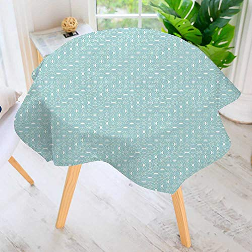 - aolankaili Hand Screen Printed Tablecloth- Elliptic Repeating with Oval Shapes and Dots Stylish Ornaments Sky Blue White Modern Printed Spill Proof Cloth Round Tablecloths 40