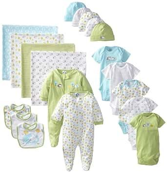 Gerber Unisex-Baby Newborn Neutral 19 Piece Essentials Gift Set, Green