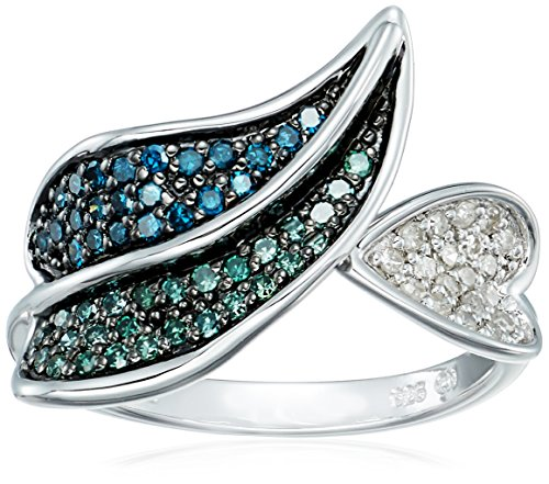 Sterling Silver Leaves Blue Green White Diamond Ring (1/3 cttw, I-J Color, I2-I3 Clarity), Size 6