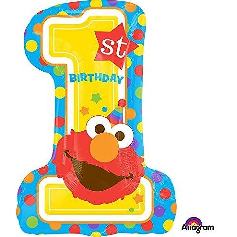 Sesame Street Elmo 1st Birthday Super Shape Foil Balloon - Elmos Shape
