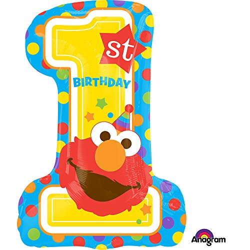 Sesame Street Elmo 1st Birthday Super Shape Foil Balloon]()