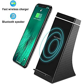 3 in 1 Portable Bluetooth Speaker Wireless Charger Power Bank Superior Sound Enhanced Bass 5000mAH 30 Hours Playtime//Wireless Qi Charger Standard for iPhone X XS XS Max XR 8//8 Plus Samsung Galaxy 9 S9 S10 Plus 8 S8 S8 Plus S7 S7 Edge S6 S6 Edge// High Capac