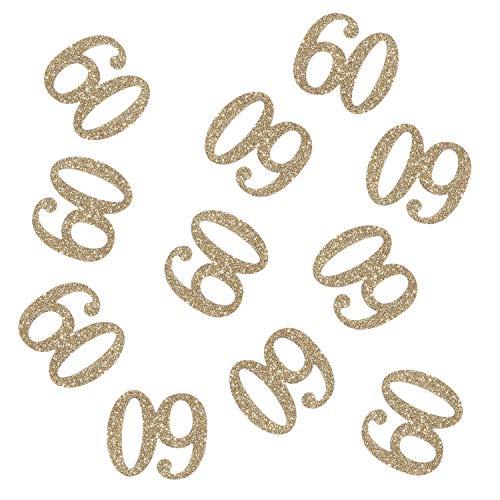 100 PCS Gold Glitter Number 60 Table Confetti 60th Birthday/Anniversary Celebrating Decorations]()