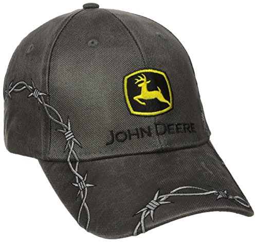 John Deere Embroidered Logo Waxed Cotton Baseball Hat - One-Size - Men's - Charcoal