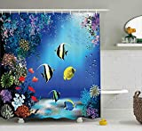 KANATSIU Tropical Undersea Fishes Swimming in The Ocean Coral Reefs Image Shower Curtain 12 plactic Hooks,100% Made Polyester,Mildew Resistant & Machine Washable,Width x Height is 60x72