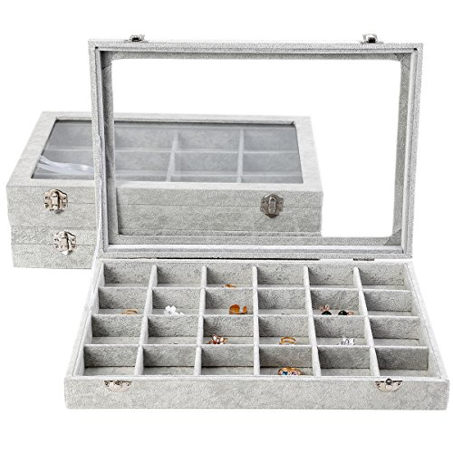 MyshineStyle Accessories Organizer Display Ice Velvet Covered Clear Glass Top Stackable Jewelry Storage Boxes Case,1 Piece (24 - Necklace Earrings Box Gift