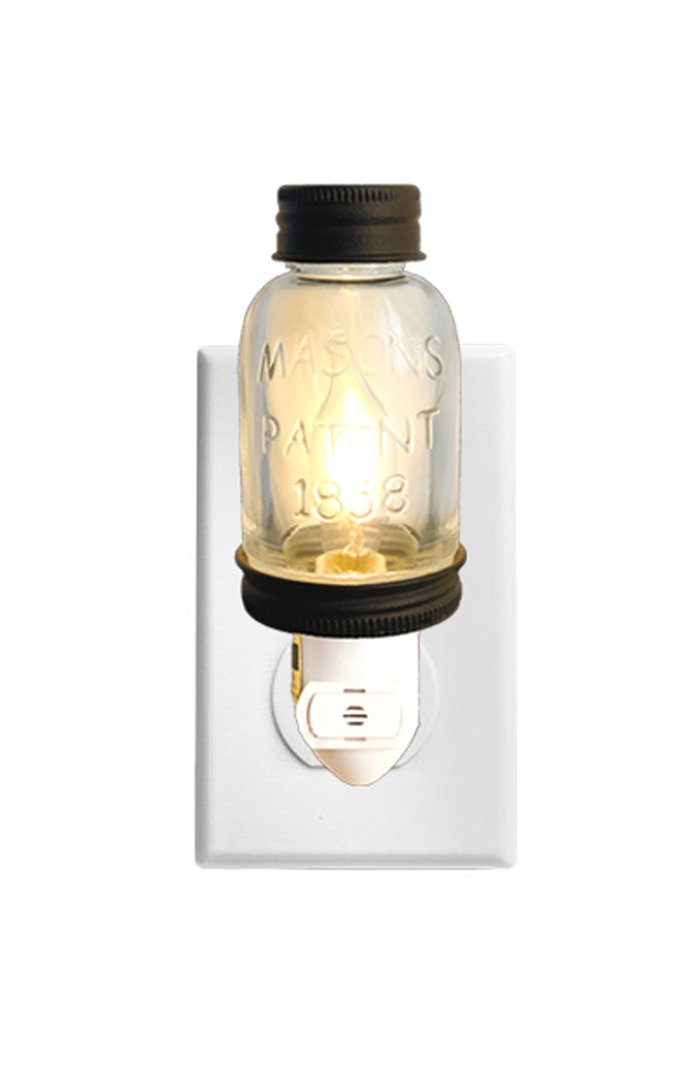 Rustic LED Mini Mason Jar Night Light | Auto On/Off Sensor | Quality Constuction with Embossed Glass and Metal | Energy Efficient LED Bulb | Classic Timeless Design