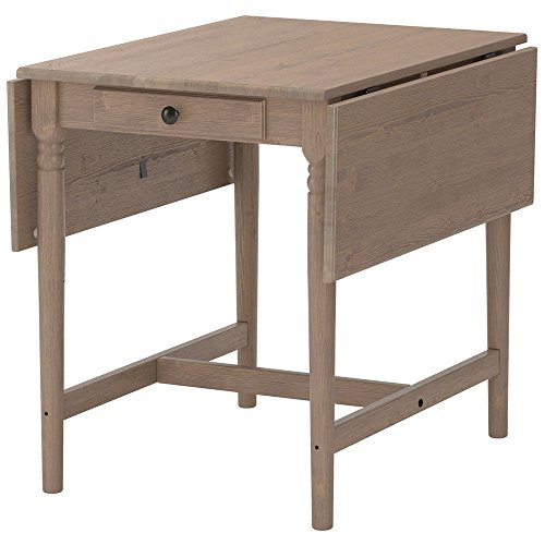 Drop Leaf Table Gray Brown Pine Wood Ikea Ingatorp with Drawer Dining -