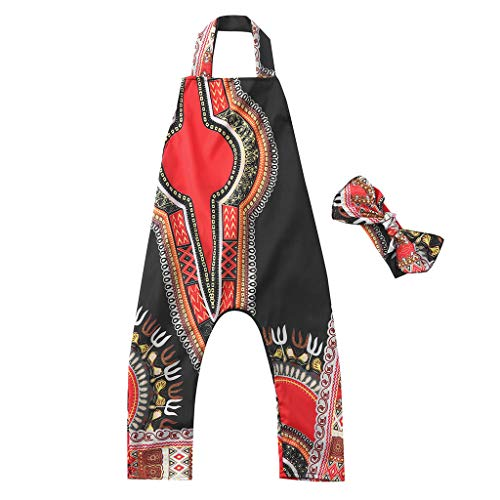 ❤Ywoow❤❤ , Toddler Kid Baby Girl African Print Sleeveless Romper Hair Band Jumpsuit Clothes