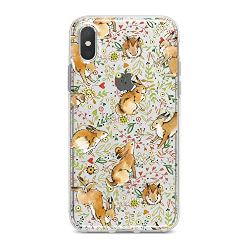 Lex Altern TPU Case for iPhone Apple Xs Max Xr 10 X 8+ 7 6s 6 SE 5s 5 Animal Green Rabbit Floral Kid Slim fit Pattern Gift Lightweight Cover Flower Smooth Print Cute Design Clear Flexible Soft Bunny