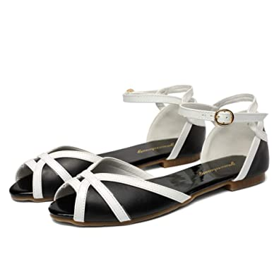 623d587221f1 getmorebeauty Women s Black and White Vintage Flats with Ankle Strap Open  Toes Comfort Sandals Shoes 6