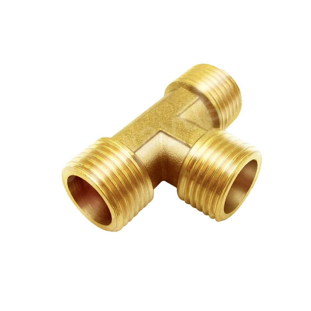 Joywayus Brass Pipe Fittings 1//2 to 1//2 to 1//2 Male Forged Tee Pipe Tube Fitting Pack of 3