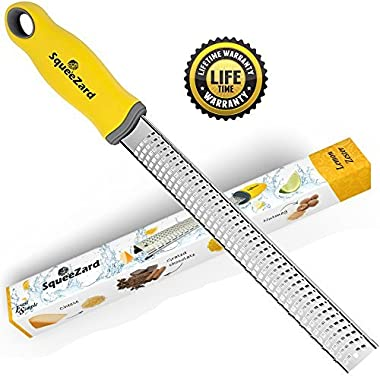 Squeezard - Lemon Zester - Cheese Grater - Professional Kitchen Tool - Stainless Steel Blade for Citrus, Parmesan Cheese, Garlic, Nutmeg, Ginger - with Non-slip Yellow Handle