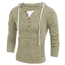 Gracefulvara Men Stylish Casual Tops,Slim Fit V-Neck Long Sleeve Hoodies Sweaters
