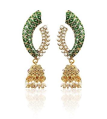Rajwada Arts Traditional Green Meena Pearl Earring for Women <span at amazon