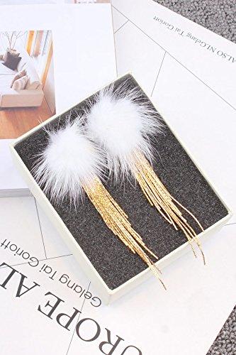 Goddess Golden Earrings - Gorgeous Goddess Luxurious Mink Fur Ball Golden Snake Bone Chain Tassel Earrings earings Dangler Eardrop Creative Long