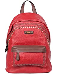 Nikky Womens Eco-Leather Spacious Studded Fashion Design Backpack, Red, One Size