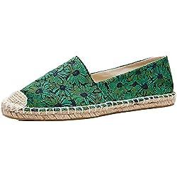 U-lite Daisy Jacquard Foral Espadrilles Women Shoes Slip-On Loafer Green 9