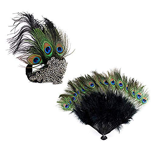 1920s' Vintage Flapper Accessories Set Peacock Rhinestone Headband n Peacock Feather Fan for Halloween Gatsby Theme Party