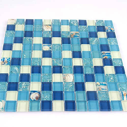 Crystal Mosaic tiles Crackle Glass Tile Blue And White Sea Shell For Bathroom Shower Backsplash Kitchen Subway (1PCS Small Sample 2.8x5.9 Inches)