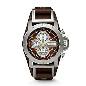 Fossil Trend JR1157 - Reloj cronógrafo de cuarzo para hombre, correa de cuero color marrón (cronómetro)