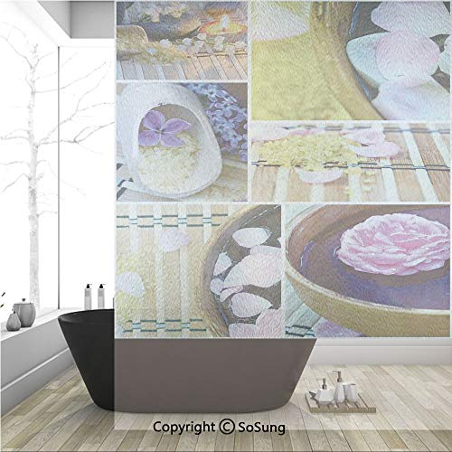 3D Decorative Privacy Window Films,Spa Organic Cosmetics Theme Wooden Bowl Petals Lavender Candle Pebbles Therapy Oil,No-Glue Self Static Cling Glass film for Home Bedroom Bathroom Kitchen Office 36x4