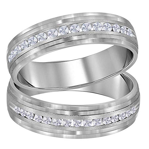 14kt White Gold His & Hers Round Diamond Band Matching Wedding Band Set 1/3 Cttw ()