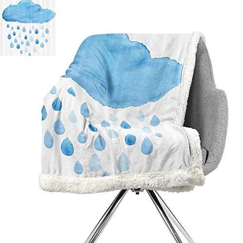 (Apartment Decor Light Thermal Blanket,Illustration of Rain Drops and Cloud in Watercolor Painting Effect Cute Nimbus Fun Art,Blue White,Digital Printing Blanket W59xL47 Inch)