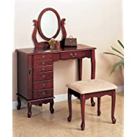 Cherry Vanity with Table & Bench Set Makeup Make Up Table