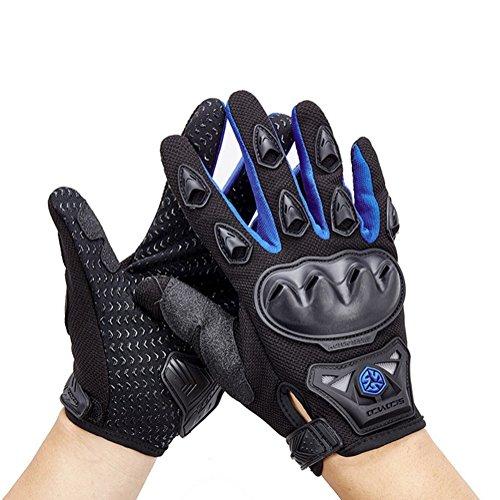 Wonzone Men's BMX MX ATV Powersports Racing Gloves Bicycle MTB Racing Off-road/Dirt bike Sports Gloves (Blue, Medium)