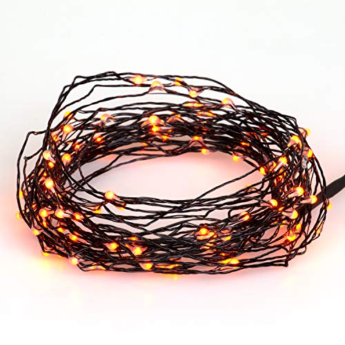 SCS Direct Holiday 100 pcs String Lights 33 ft / 10 m LED Orange for Halloween Decor - Outdoor Indoor Decorations for Bedroom, Patio, Parties, Holidays and ()