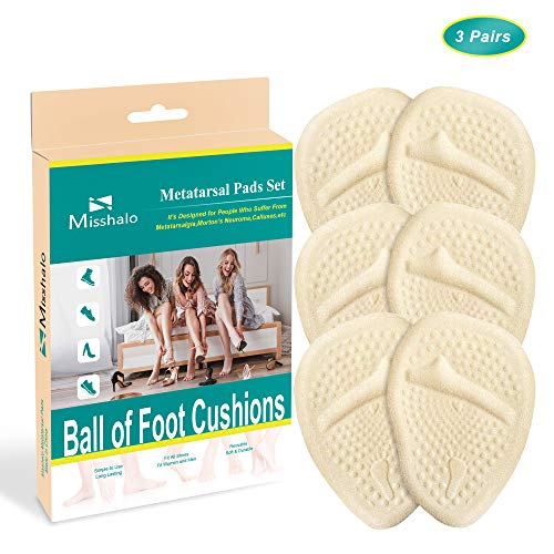 Ball of Foot Cushions, Metatarsal Pads for Women and Men-3 Pairs Soft Gel Pads Forefoot Pads Pain Relief for Mortons Neuroma, Calluses, Metatarsalgia