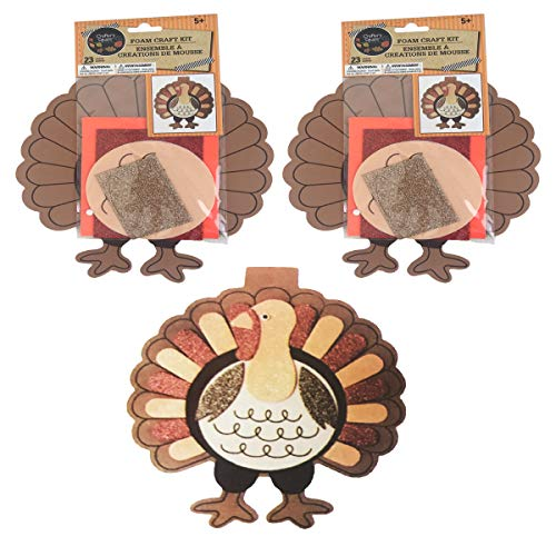 Thanksgiving Foam Craft Kit for Kids 23 Piece - Turkey - Set of 2