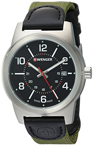 Wenger Men's 'Field Gear' Swiss Quartz Stainless Steel and Nylon Casual Watch, Color:Green (Model: 01.0441.163)