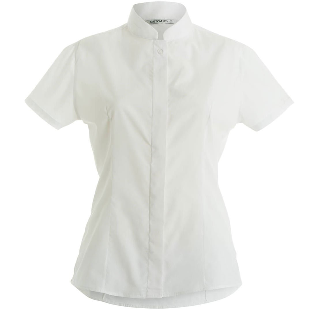 KUSTOM KIT Women's Mandarin Collar Fitted Short Sleeved Shirt
