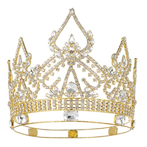 DcZeRong Queen Crowns Gold Women Crowns For Prom Pageant Party Queen Rhinestone Full Crowns ()