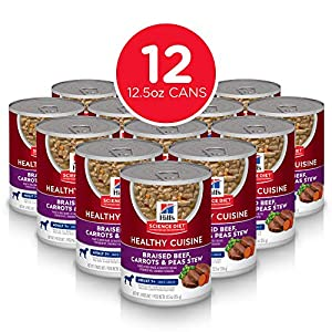 Hill's Science Diet Wet Dog Food, Adult, Healthy Cuisine, Braised Beef, Carrots & Peas Recipe, 12.5 oz Cans, 12 Pack