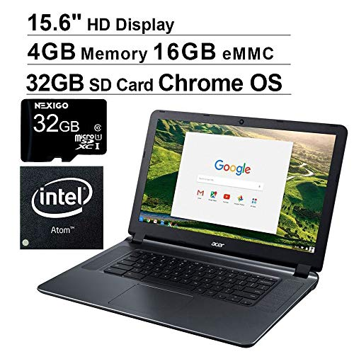 Newest Acer Chromebook 15 15.6 Inch Laptop for Business Student| Intel Atom x5 E8000| 4GB RAM| 16GB eMMC| WiFi| Bluetooth| HDMI| Chrome OS + NexiGo 32GB MicroSD Bundle