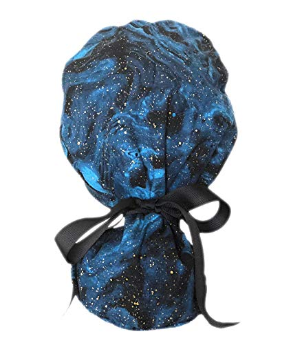 - Blue Night Sky Ponytail Scrub Cap for Women with Black Ribbon and Gold Speckles