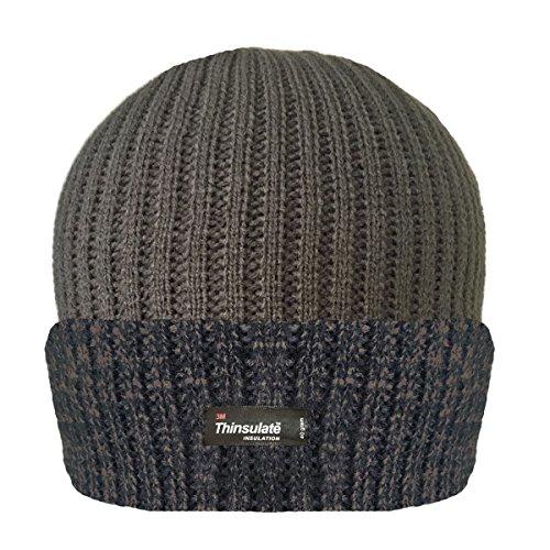 aislamiento Turn up en Invierno Gorro Forro Thinsulate 3m Melange Cálido COLORES Canalé de Khaki Para hombre Sombrero awZqUXU