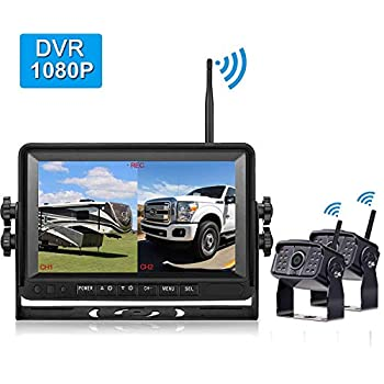 Image of Vehicle Backup Cameras Amtifo FHD 1080P Digital Wireless 2 Backup Cameras With 7'' DVR Monitor For Trailers,Trucks,RVs, High-Speed Observation System Support Split/Quard Screen