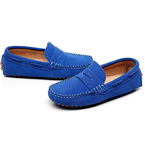 fea5f2a874d Shenn Boys  Cute Slip-On Royal Blue Suede Leather Loafers Shoes ...