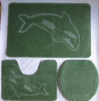 3 Teilig Badgarnitur Badset Delphin Badematten Badteppich